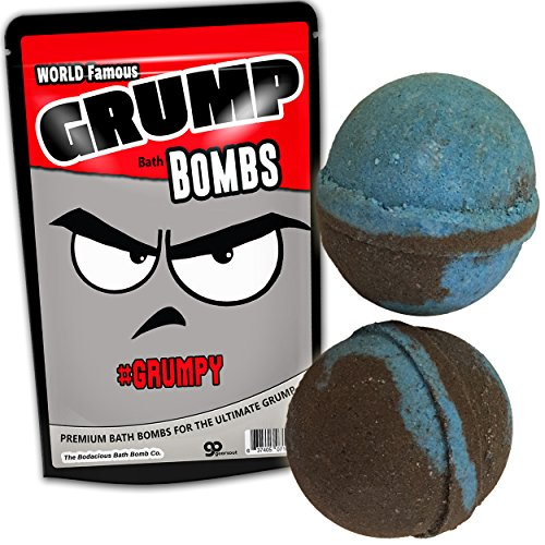 Giant Grump Bath Bombs XL Bath Balls Funny Bathbombs for Men Blue and Black Bath Fizzers Fun Old Man Gags Stocking Stuffers for Dads Grandpa Gags 2 Pack