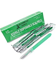 Box of 10 Disposable Sterile Scalpels Size #10 with Gratuated Plastic Handle & Metric Line Individually Foil Wrapped, Stainless Steel Blade