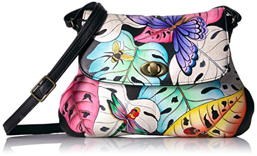 Anuschka Anna Handpainted Leather Medium Flap Cross Body, Lovely Leaves by Anna by Anuschka