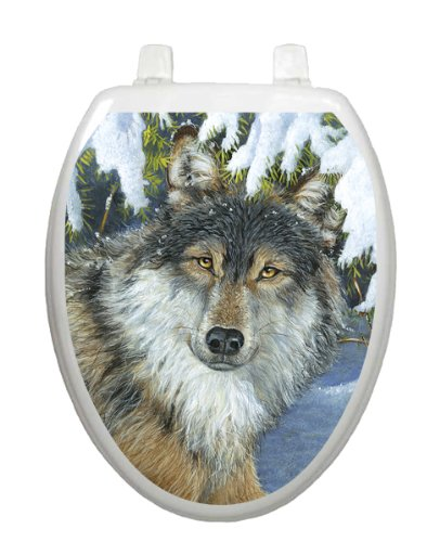 Lone Wolf Toilet Tattoo TT-1078-O Elongated Lake Pond Summertime Seat Decal by Toilet Tattoo