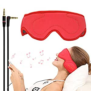 ACOTop Velcro Adjustable Earphones For Comfortable Wired Sleep Headphones Eye Mask with Built-in HD Audio Speaker, Perfect for Sleeping, Air Travel, Meditation and Relaxation (Red)
