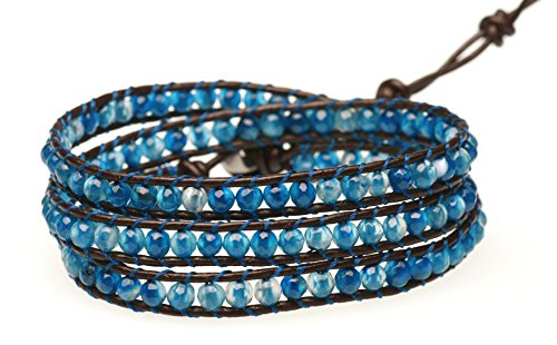 BLUEYES COLLECTION 3 Wrap Genuine Leather Bracelet Gemstone Bead (Blue Star Agate)