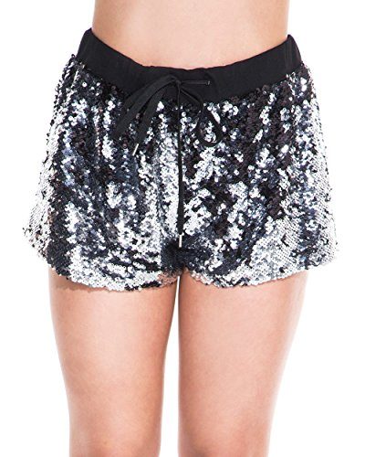 iHeartRaves Comfy Silver Sequin Drawstring Bum Sport Athletic Shorts (Medium) by iHeartRaves