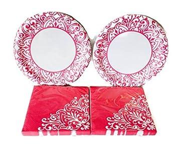 Brilliant Pink Jazz Plates and Napkins Set Serves 36 People by DTSC Imports  sc 1 st  Amazon.com & Amazon.com: Brilliant Pink Jazz Plates and Napkins Set Serves 36 ...