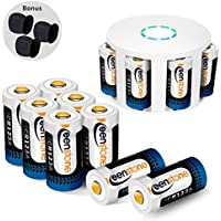 RCR123A Rechargeable Batteries and Charger, Keenstone 12Pcs 3.7V 700mAh Li-ion Battery w/ 8-Ports Charger and Camera Skin for Arlo VMS3030/3230/3330/3430/3530 Security Cameras
