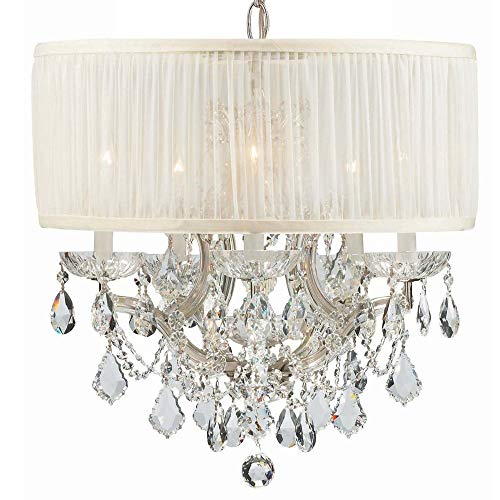 Cls Traditional Crystal Chandelier - Crystorama 4415-CH-SAW-CLS Crystal Accents Five Light Mini Chandeliers from Brentwood collection in Chrome, Pol. Nckl.finish,