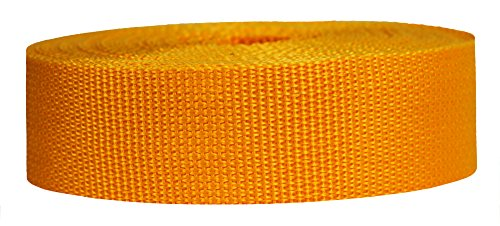 Strapworks Lightweight Polypropylene Webbing - Poly Strapping for Outdoor DIY Gear Repair, Pet Collars, Crafts – 1.5 Inch x 10 Yards - Yellow -