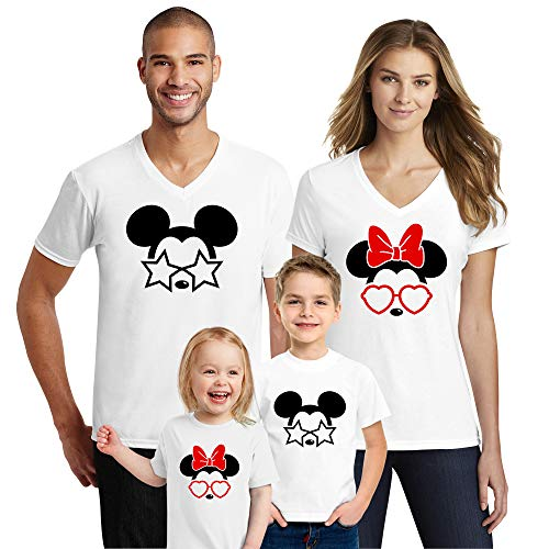 Natural Underwear Family Trip #4 Summer Edition Family Vacation Glasses Stars Heart 2019 T Shirts Trip Mouse V Neck T Shirts White Kids Girls 4T ()