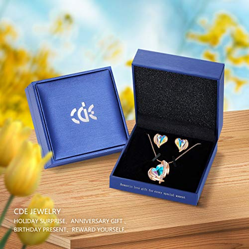 CDE Love Heart Necklaces and Earrings Jewelry Set for Women Rhodium Plated/Rose Gold Tone Crystals Birthstone Gifts for… 5