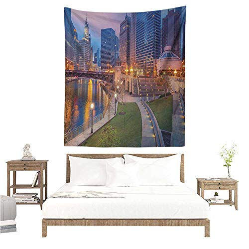 (Wall Tapestry Chicago Skyline Cityscape Urban Scene Waterfront Illuminated at Twilight Blue Hour Image 54W x 72L INCH Suitable for Bedroom Living Room Dormitory )