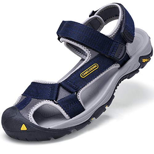 CAMEL CROWN Mens Waterproof Hiking Sandals Closed Toe Water Shoes Adjustable Strap Non-Slip Casual Athletic Sandals for Men Outdoor Sport Beach Summer Blue Size 11 US (Best Waterproof Hiking Sandals)