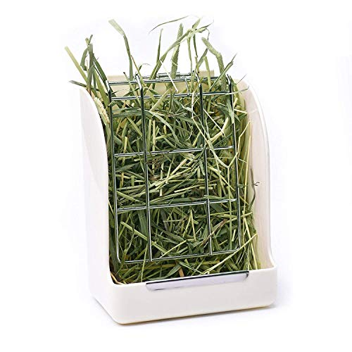CalPalmy Hay Feeder/Rack - Ideal for Rabbit/Chinchilla/Guinea Pig - Keeps Grass Clean & Fresh/Non-Toxic, BPA Free Plastic/Minimizing -