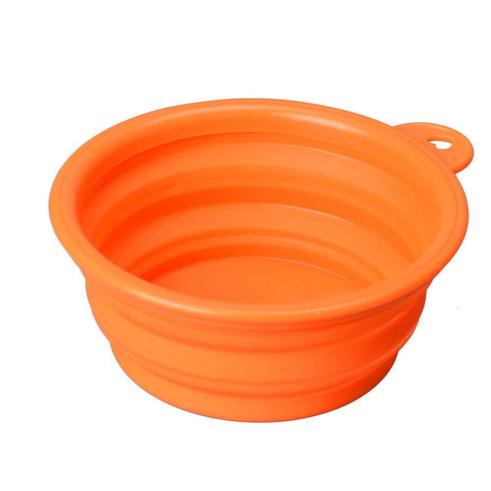 orange PET COLLAR HOME Link Pet Dog Cat Water Dish, Pet Collapsible Silicone Travel Feeding Bowl Water Dish Feeder (Green) (color   orange)