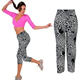 Catty Kelly High Waist Fitness Yoga Sport pants Printed Stretch Cropped Printing Leggings (Black, Asian L)