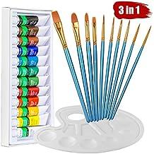Watercolor paint set, Heartybay 10 Blue Paint Brushes & 1 Palette & 12 x 12ml Acrylic Color Pigment Set