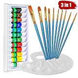 Watercolor paint set, Heartybay 10 Blue Paint Brushes & 1 Palette & 12 x 12ml Acrylic Color Pigment Set