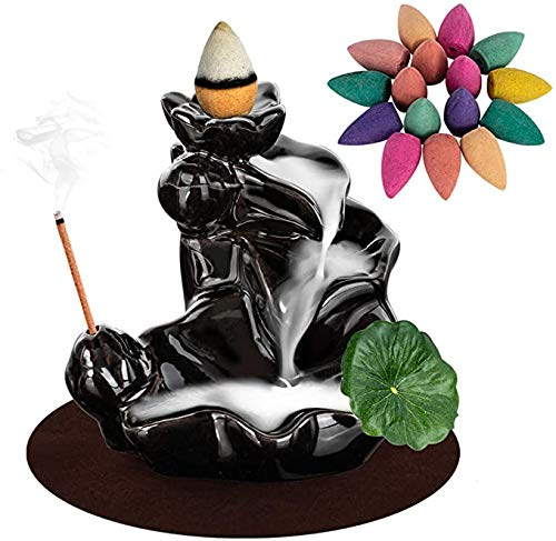 Mortilo Waterfall Incense Backflow Cone Ceramic Burner Handcrafted Porcelain Censer Inscent, with 100 Free Incense Cones Sets, Aromatherapy Ornament Home Decor, Black Set (A)