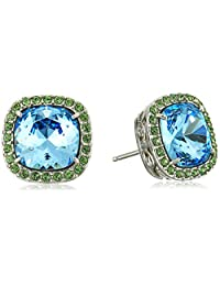 Sterling Silver Swarovski Elements Crystal Morganite Cushion-Cut Halo Stud Earrings