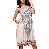 OCTOPUSIR Women Sleeveless Strapless Beach Sundress 2018 Ladies Summer Ethnic Bohemian Off Shoulder Floral Printed Bandeau Boobtube Casual Mini Cover up Dress,Colour 11