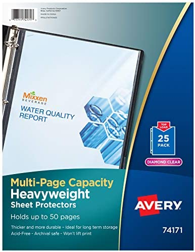 Avery 74171 Multi-Page Top-Load Sheet Protectors, Heavy Gauge, Letter, Clear (Pack of 25), 8-1/2 x 11 Inches