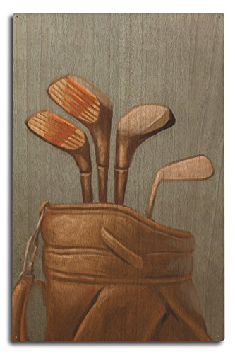 Lantern Press Golf Clubs - Oil Painting (10x15 Wood Wall Sign, Wall Decor Ready to Hang)