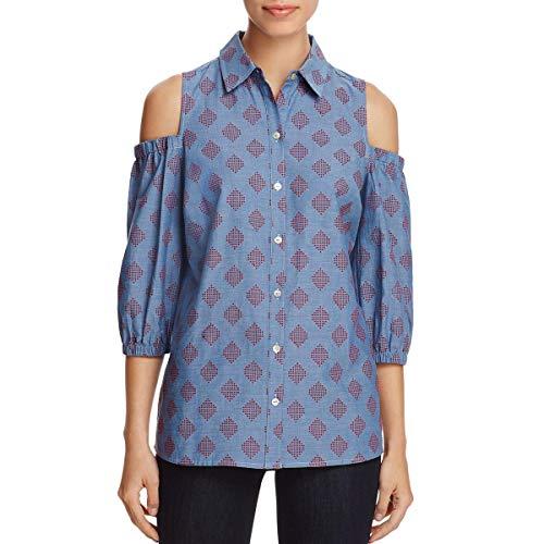 Foxcroft Womens Chambray Diamond Print Button-Down Top Blue -