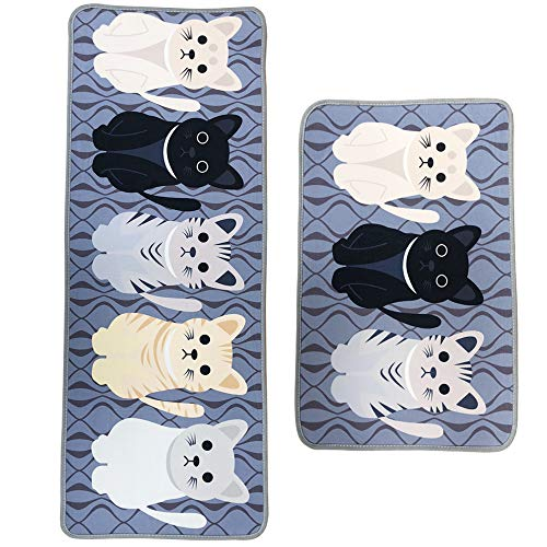 Leebei Kitchen Mats Anti-Fatigue Mat Kitchen Rugs Non-Slip Washable,Absorbent Floor Mats Doormats Area Rugs for Kitchen Bedroom Bathroom Carpet (15.7×23.6 inch +15.7×47.2 inch)(Cats)