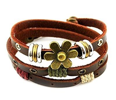 ZIOOER Charm Art Adjustable Leather Wrap Bracelet