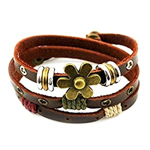 ZIOOER Charm Art Adjustable Leather Wrap Bracelet