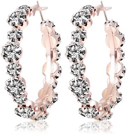 Miraculous Garden Women Fashion Rose Gold Plated Alloy Crystal Rhinestone Cubic Zirconia Hypoallergenic Round Pierced Hoop Earrings Jewelry for Mother's Day (Orange)