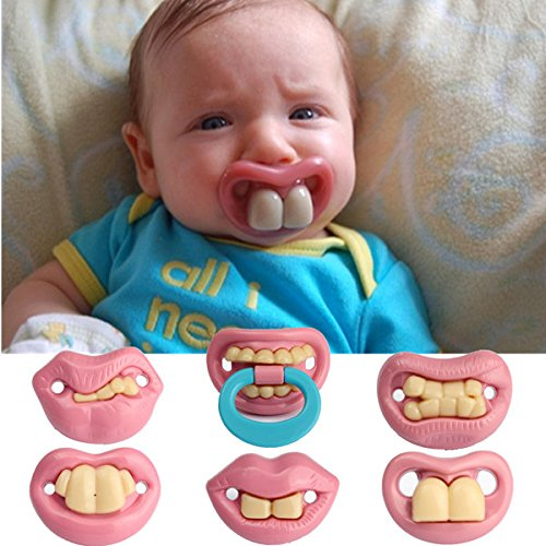 Pink Lizard Fashion Funny Baby Dummy Dummies Pacifier Prank Novelty Teeth Child Lip -
