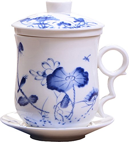 Lotus Teacup - BandTie Convenient Travel Office Ceramics Teacup Loose Leaf Tea Brewing System-Chinese Jingdezhen Blue and White Porcelain Tea Cup Infuser 4-Piece Set with Tea Cup Lid and Saucer,Dragonfly and Lotus