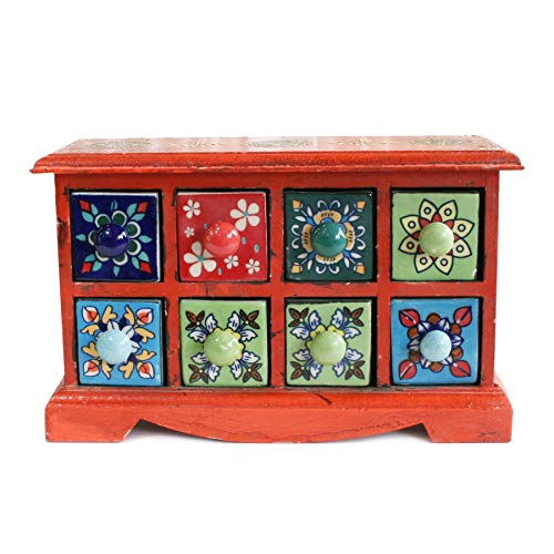 Decorative Handcrafted Vintage Wooden Organizer Box, Jewelry Storage Cabinet, 8 Ceramic Drawers, - Drawer Handcrafted