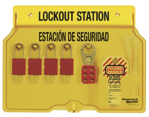 Master Lock Spanish/English 4-Padlock Capacity Station With Cover, Includes 4 Aluminum Padlocks and Tags
