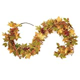 "Fall Harvest Autumn Maple Leaves and Berries 60"" Decorative Garland"