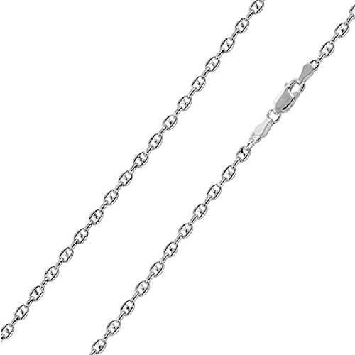 c3c8d9def4a5c8 Amazon.com: 2.4mm, 3.4mm, 4.2mm Sterling Silver Puffed Anchor / Mariner  Chain Necklace, Made in Italy (2.4mm-16