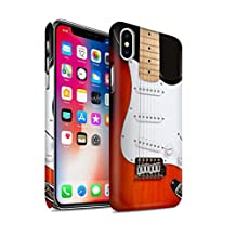 STUFF4 Matte Hard Back Snap-On Phone Case for Apple iPhone X/10 / Red Electric Design / Guitar Collection