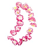 Giant Hawaiian Ruffled Simulated Colorful Luau Silk Flower Leis Jumbo Necklaces for Tropical Island Beach Theme Party Event, Birthday Supplies, Costume
