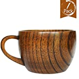 Natural Jujube Wood Big Coffee Mugs,Japanese Wood Soup Bowls,Handcraft Beer Mugs with Handle,Scald-proof,Safe and Eco-friendly (Brown)
