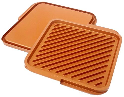 Gotham Steel Nonstick Copper Double Grill and Griddle, Reversible with Ti-Cerama Coating, Perfect for BBQs and More – As Seen on TV