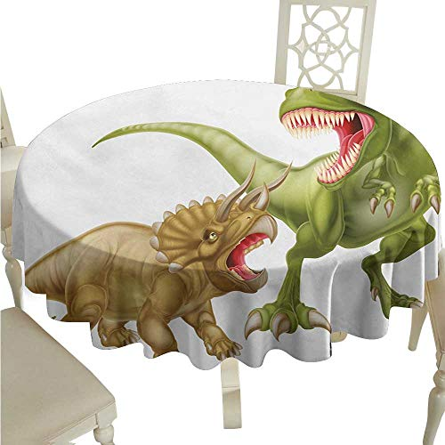 (Round Tablecloth Cotton Dinosaur,T Rex Versus Triceratops Scaring Each Other Wild Reptiles Dinosaur,Green Pink Pale Brown D70,for Bistro Table)