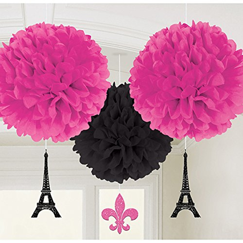 Dangling Cut Out Decorations (Bridal Shower 'A Day in Paris' Fluffy Pom Pom Decorations w/ Dangling Cutouts (3pc))