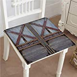 Mikihome Outdoor Chair Cushion Zinc Wooden Gate Street Construction Window Covered with Metallic Plank Brown Grey Comfortable, Indoor, Dining Living Room, Kitchen, Office, Den, Washable 16''x16''x2pcs