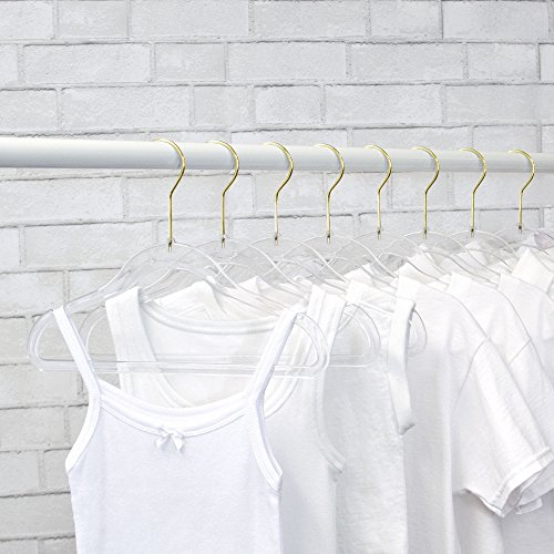 NEW EXCLUSIVE INNOVATION by Closet Complete: Perfectly sized for Kids & Babies, COMPLETELY CLEAR, Space Saving, INVISIBLE HANGERS, Ultra-Thin ACRYLIC HANGERS, GOLD Hooks, Set of 10
