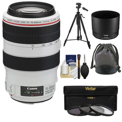 Canon EF 70-300mm f/4-5.6 L IS USM Zoom Lens + 3 UV/ND8/CPL Filters + Tripod Kit for EOS 6D, 70D, 5D Mark II III, Rebel T3, T3i, T4i, T5, T5i, SL1 DSLR Cameras