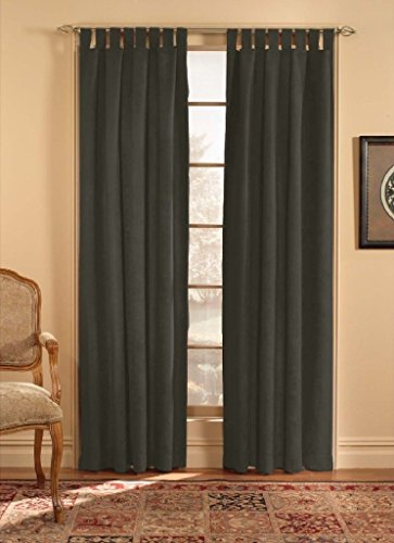 CHF & You Ultra Suede Tab Top Window Curtain Panel, Black, 50-Inch X 63-Inch