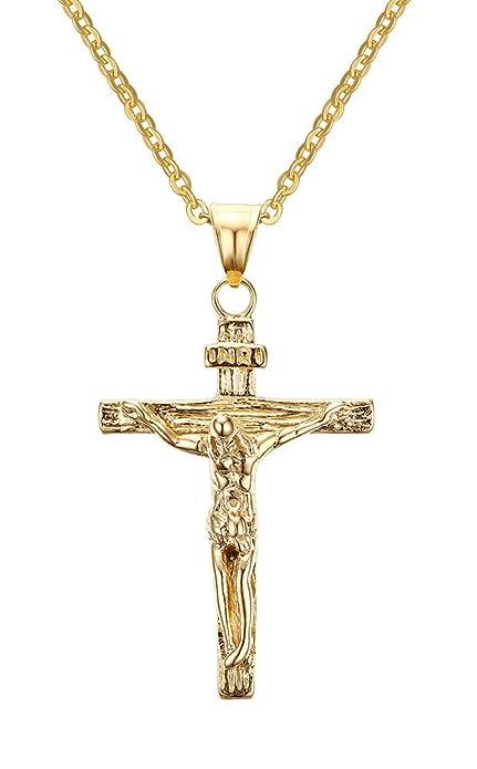 ee1219451fc8fa Vnox Collana con pendente in acciaio inox Gesù Crocifisso Croce per uomini  donne cristiane,oro,catena libera: Amazon.it: Gioielli