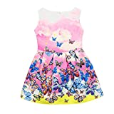 Girls Dress For 5-12 Years,Internet Toddler Girls Butterfly Summer Skirt Sleeveless Pattern Princess Party Dress Outfits Clothes (7-8years, Pink)