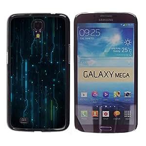 KLONGSHOP // Cubierta de piel con cierre a presión Shell trasero duro de goma Protección Caso - Patrón Electrónica Electro - Samsung Galaxy Mega 6.3 //