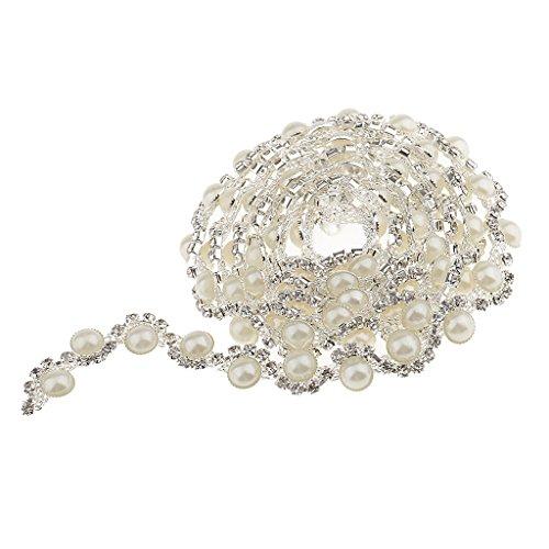 Semicircle Faux Pearls Rhinestone Chain Sewing Trim Craft 1yd